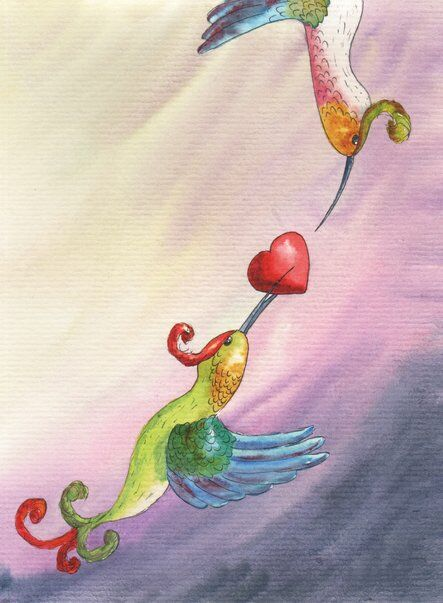 amour-colibri-coeur-mauve-helene-valentin-auteure-illustratrice-peinture-aquarelle
