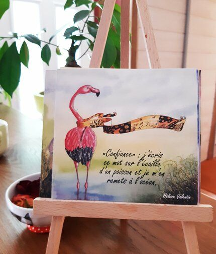 Carte-paquet-cuisine-flamantrose-aquarelle