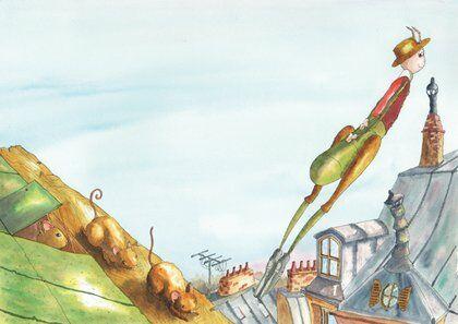 criquet-lézard-toit-bond-helene-valentin-auteure-illustratrice-peinture-aquarelle