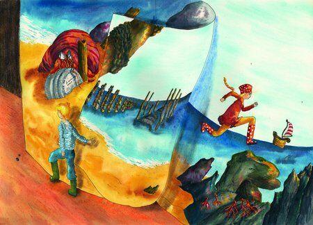 fille-garçon-livre-rocher-océan-différence-helene-valentin-auteure-illustratrice-peinture-aquarelle