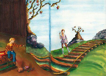 fille-garçon-livregéant-rails-bottes-différence-helene-valentin-auteure-illustratrice-peinture-aquarelle