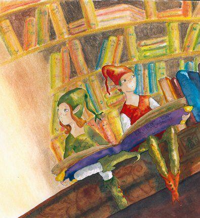 lutins-bibliotheque-livres-helene-valentin-auteure-illustratrice-peinture-aquarelle