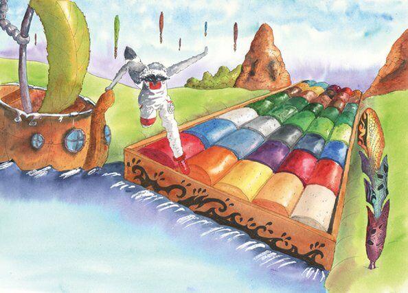 raton laveur-boite peintures-rivière-helene-valentin-auteure-illustratrice-peinture-aquarell