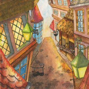 ville-historique-ruepavée-aquarelle-illustration-livre