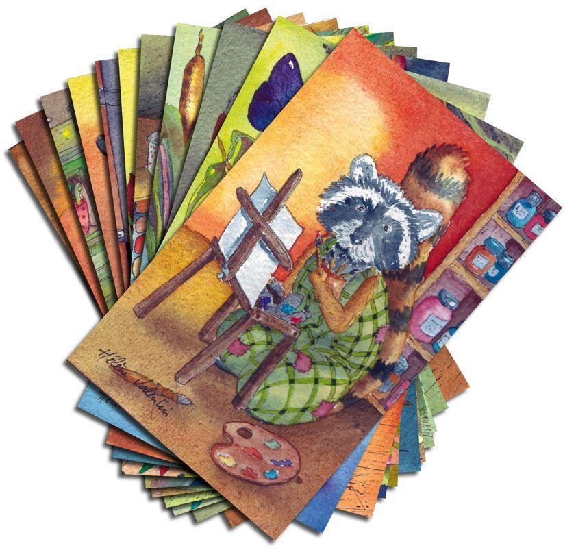 24 cartes, la première est un raton laveur qui peint